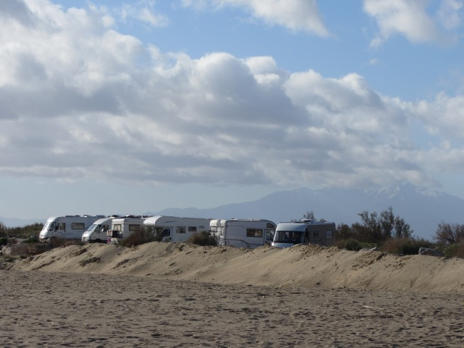Motorhome aire at Leucate Plage