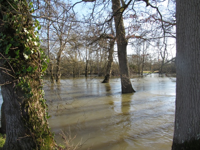 A flooded Le Porta,l where Le Charente burst its banks