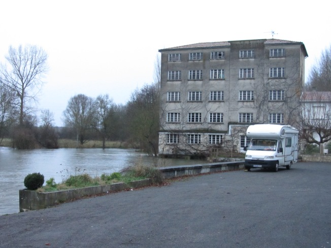 The swollen rive Charente at Vars, our overnight stop
