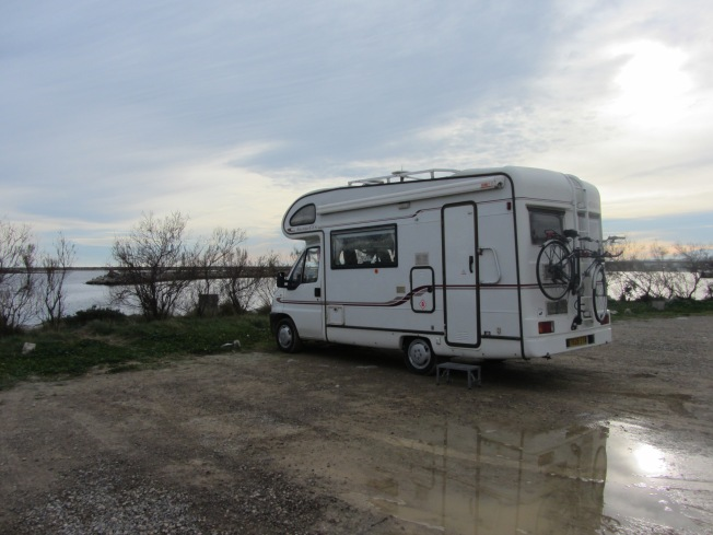 Parked right by the sea with beautiful views of the Pyrennes