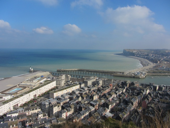 Le Treport from cliff top by funicular