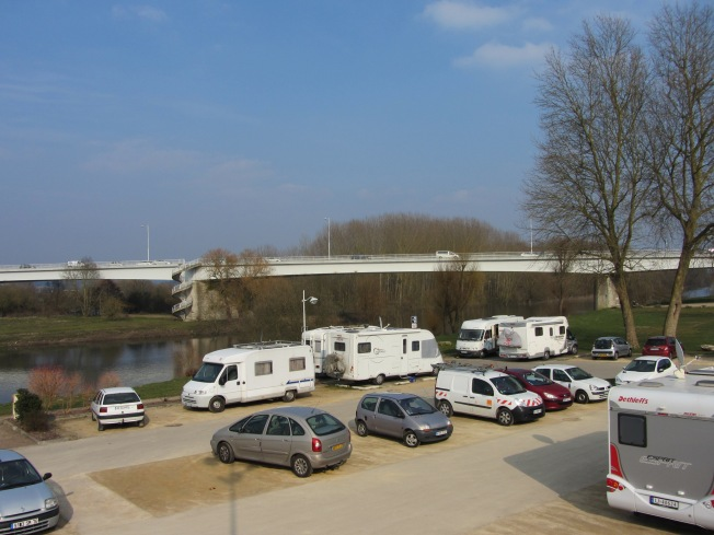 View of motorhome aire at Pont-de-L'Arche form above