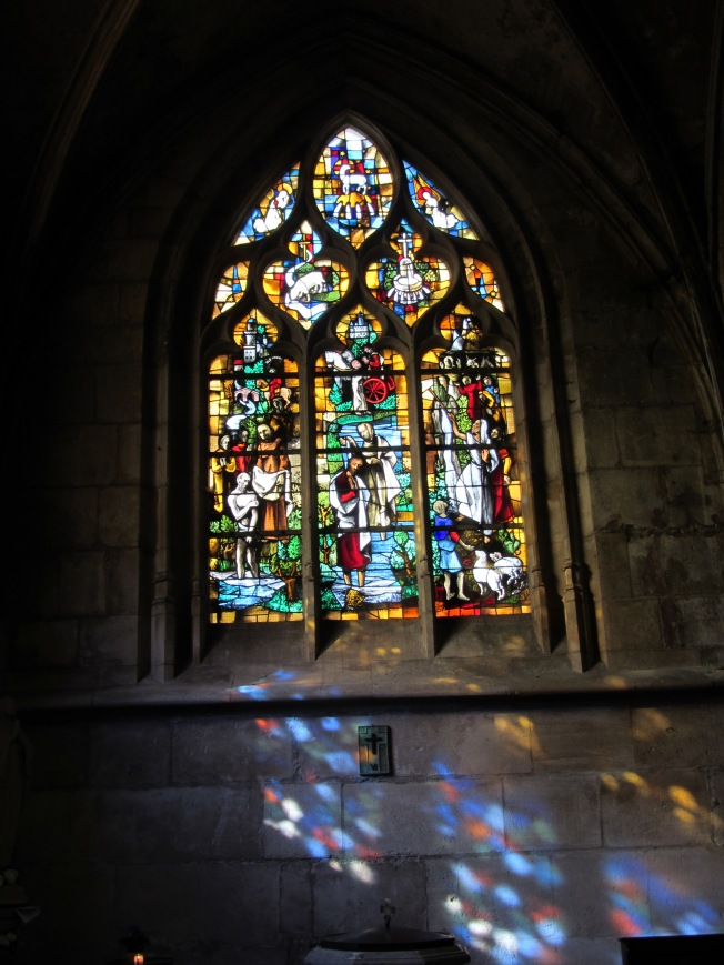 Impressive stained-glass window in church