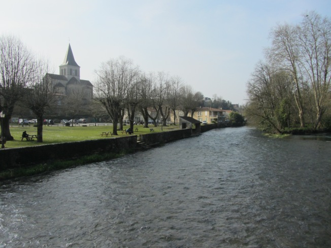 The river and park by the motorhome aire at Verteuil-sur-Charente