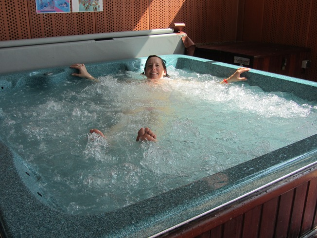 Enjoying a relaxing time in the jacuzzi