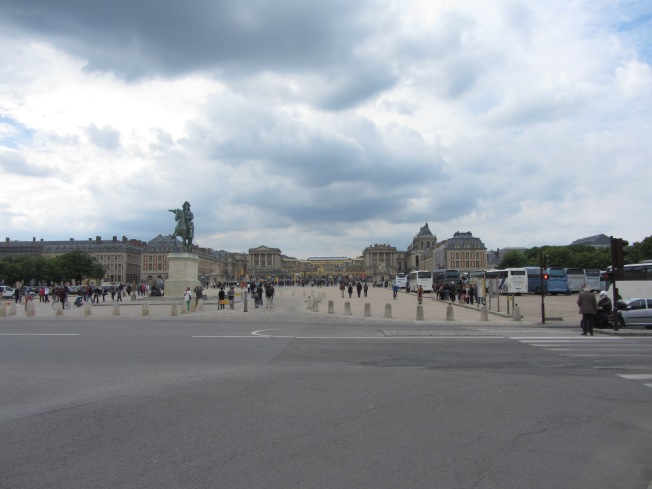 Approaching the Palace of Versailles on our trial cycle ride