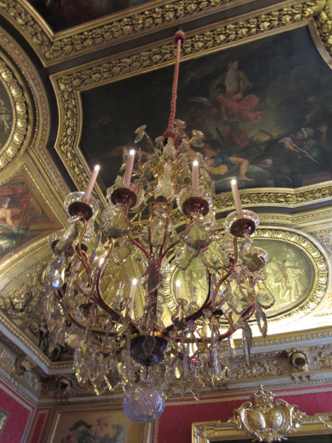One of the many magnificent chandeliers at the Palace