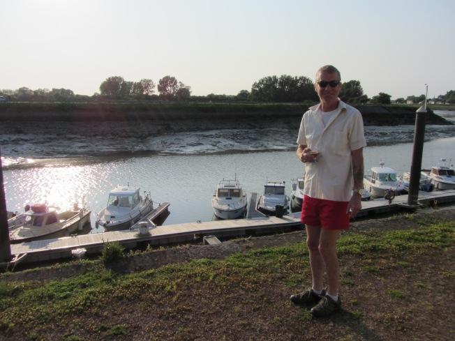 Enjoying an evening drink at motorhome aire at Gravelines
