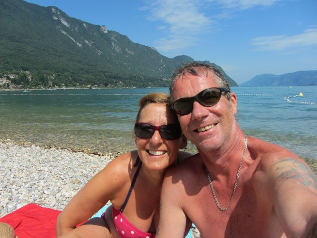 Enjoying the sun at Lac de Bourget before the storm