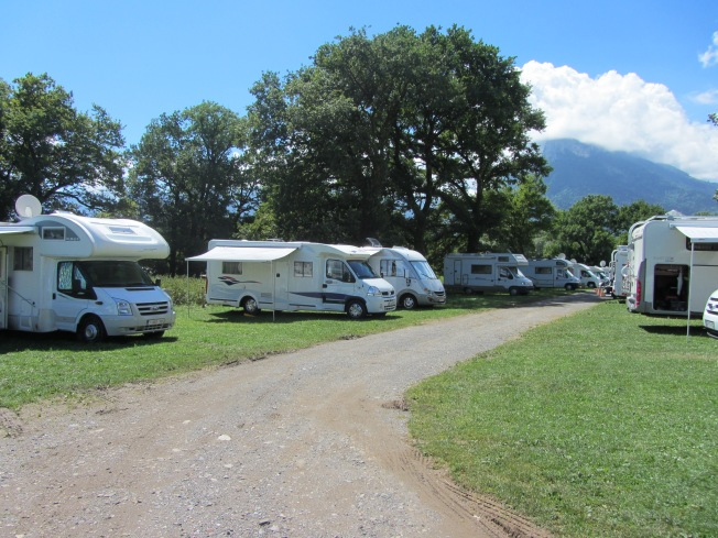 The motorhome aire at Lathuile, Bout du Lac, Lac Annecy