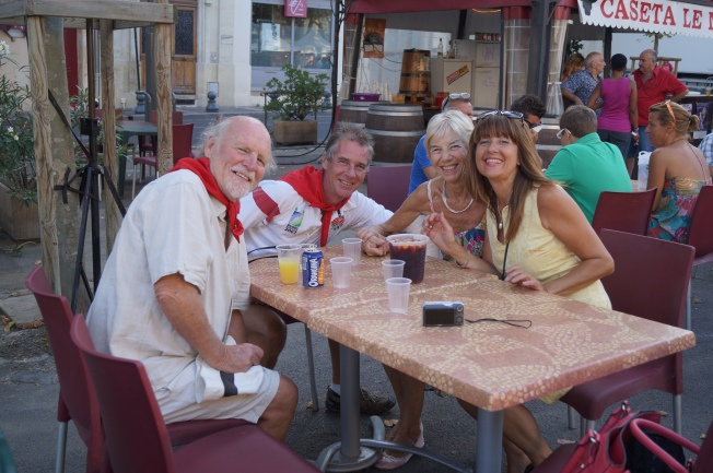 The Saysells and Lesley enjoying a sangria at Beziers Feria