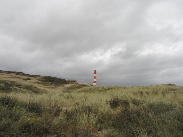 Lighthouse seen through the sand dunes