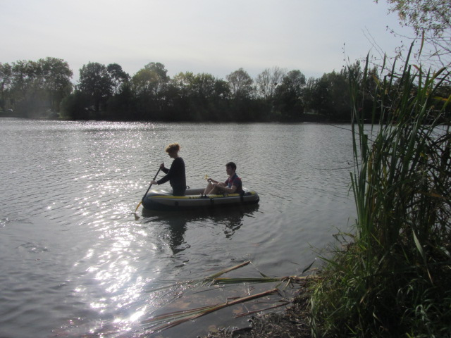 Adrian and Hannah enjoying a paddle in the lake