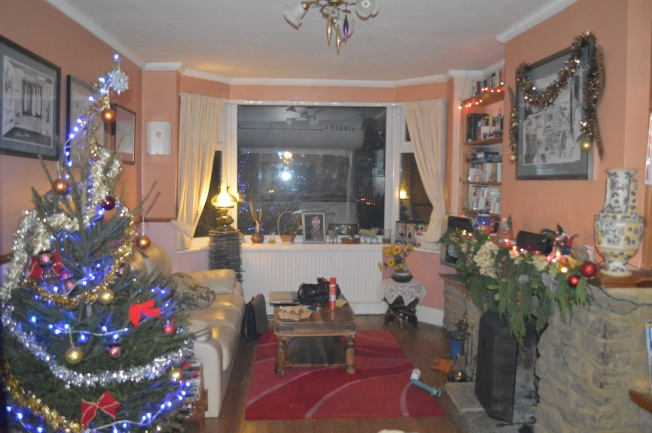 Our front room looking Christmassy. Motorhome can be seen through he window.