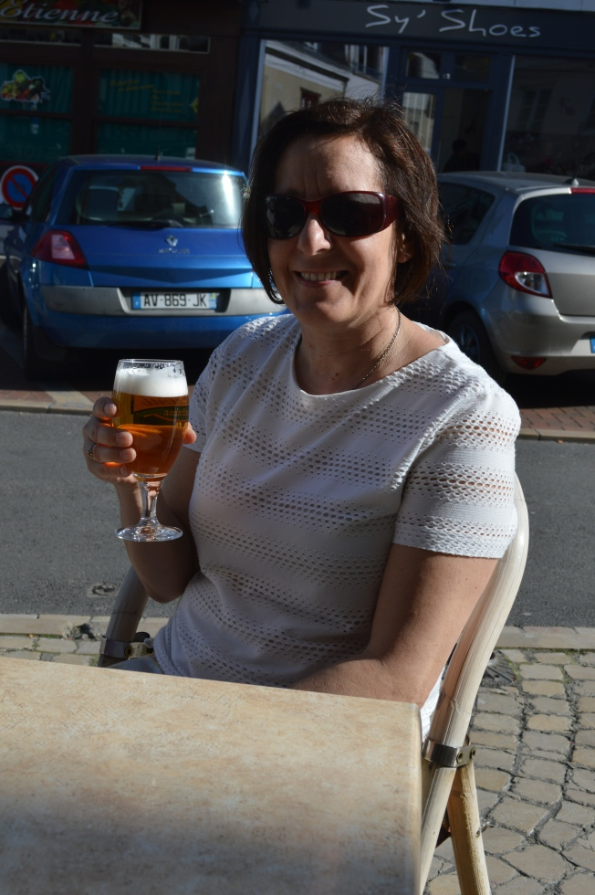 Enjoying a beer in town outdoors