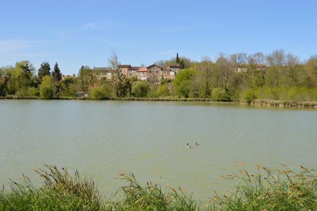 Enjoying a stroll around lake at Château Larcher
