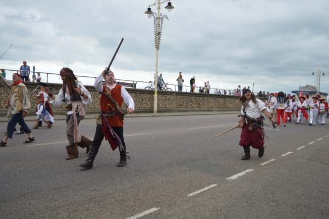 Jack Sparrow leading the parade along the promenade