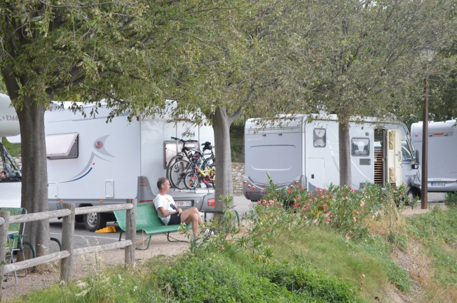 Enjoying the views at our lovely spot at Ste-Croix-du-Verdon motorhome aire.