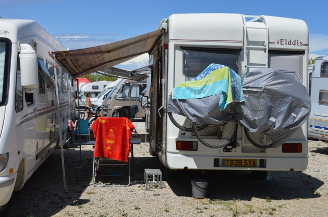 Our pitch at the motorhome aire.  Just about enough space for awning!