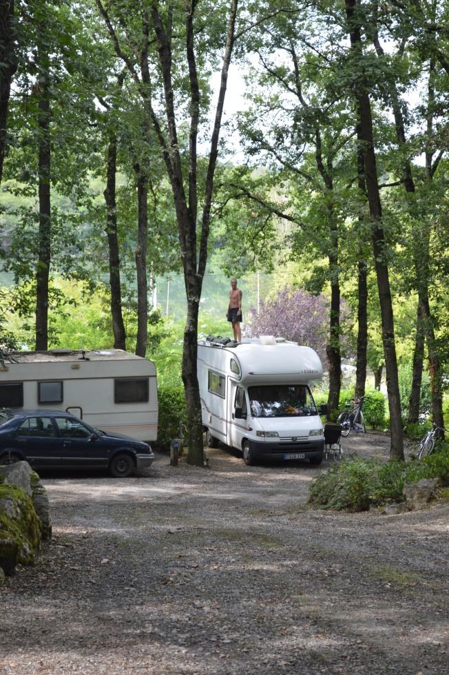 Our pitch at Camping du Plan d'eau at Rieux-Volvestre