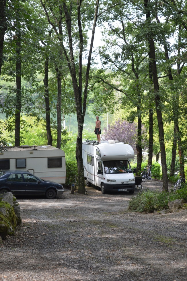 Our pitch at Camping du Plan d'eau at Rieux-Volvestre