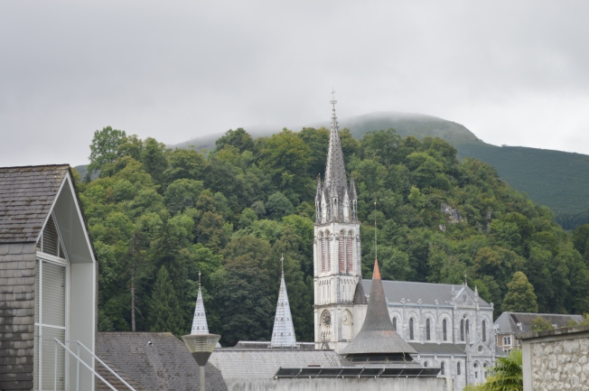 Lourdes Shrine in the mist