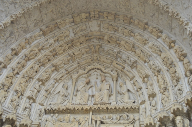 Stone carvings above door