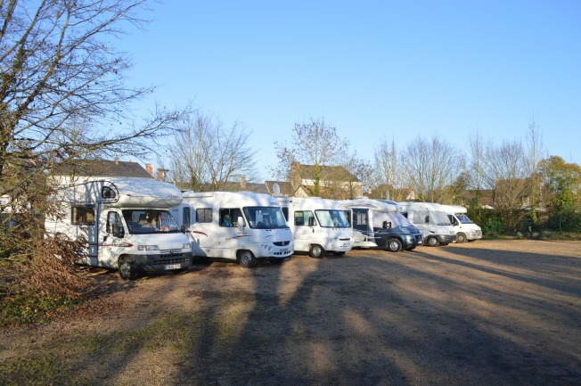 All spaces taken up at the motorhome aire at La Suze-sur-Sarthe