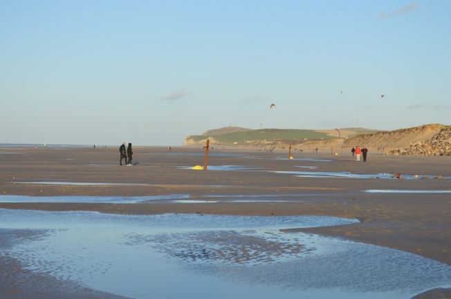 Plenty of walkers enjoying the beach in the new year