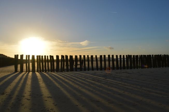 The recent breakwaters installed on Wissant Beach in a stunning sunset