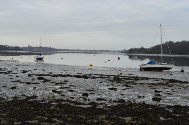 A grey Dell Quay to begin our Sunday walk and the tide was out!