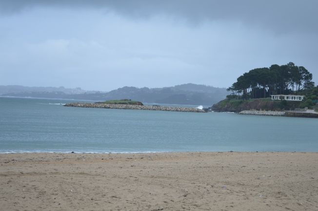 Playa de Santa Cristina, a bit wet and misty today