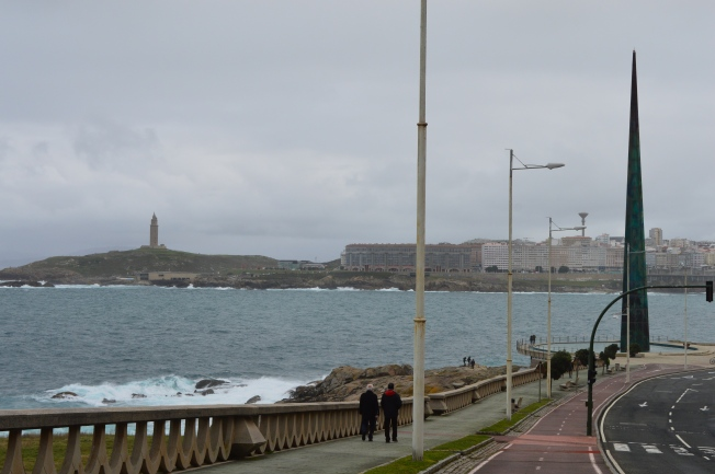 The Millenium obelisk and Tower of Hercules in the background