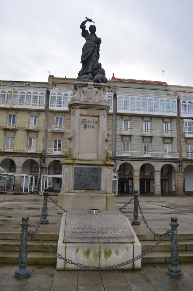 Statue of Maria Pita, local heroine who defended the town against the English invasion in 1589