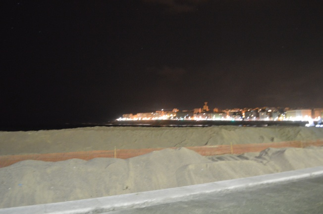 Sand barrier to protect promenade, looking towards La Torre de Hercules
