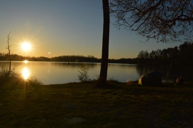 Idyllic sunset at Lac de l'Uby