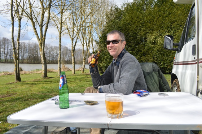 Enjoying a drink in the sun at Etang Neuf