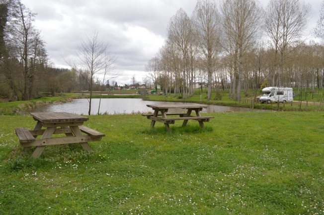 The lovely motorhome aire by pond at Clerac