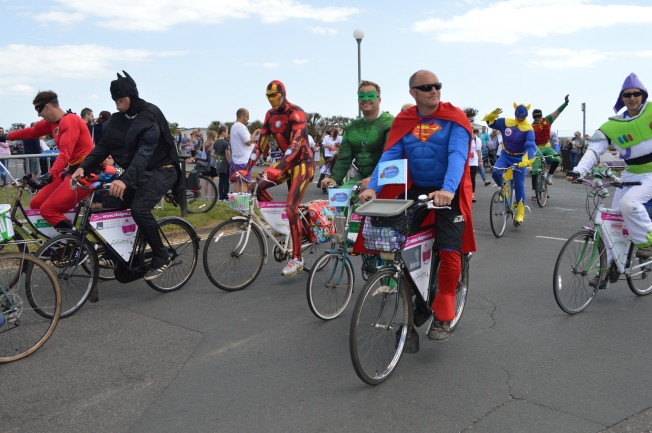 All the Super Heroes together on their bikes