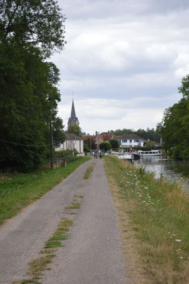 The pleasant walk along the canal from the aire to the village
