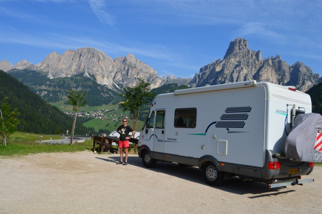 A free sosta outside Cortina D'Ampezzo