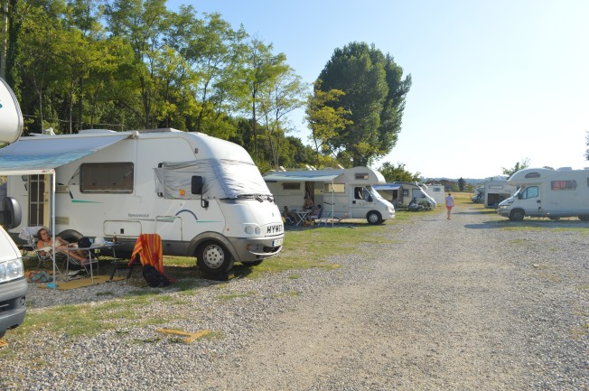 Our pitch with hook-up at wonderful sosta in Desenzano