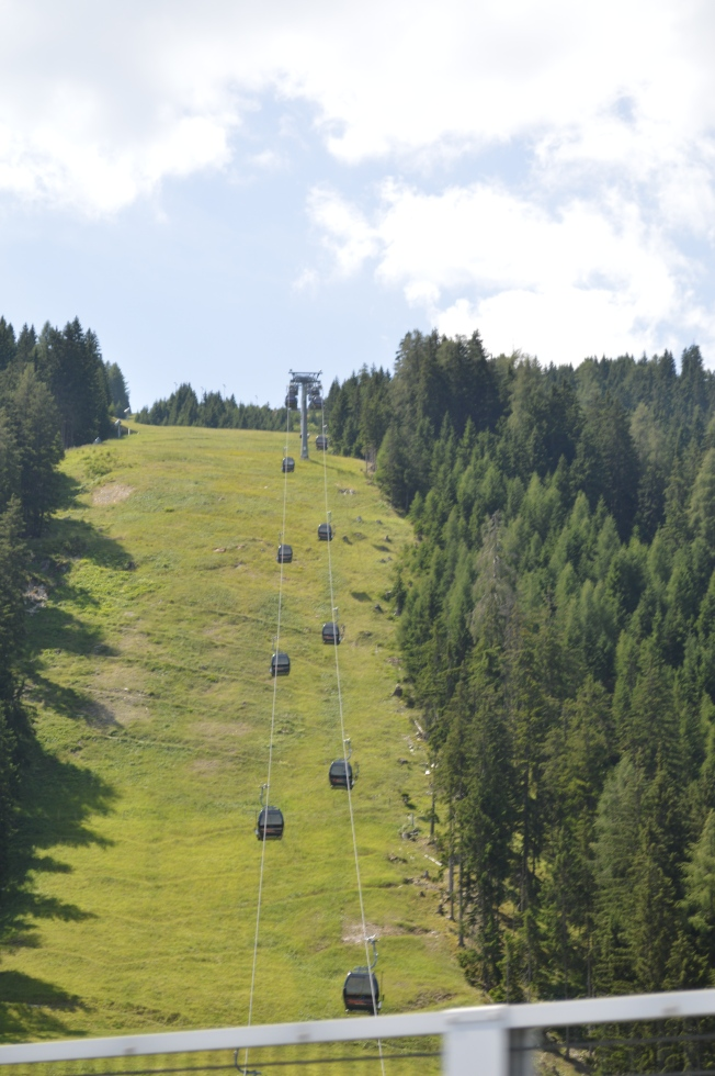 Cable cars nearing the Brenner Pass in Austria