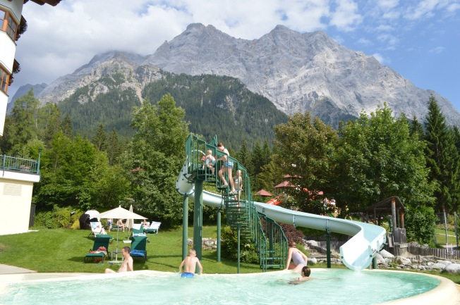 Water slide on the outdoor pool