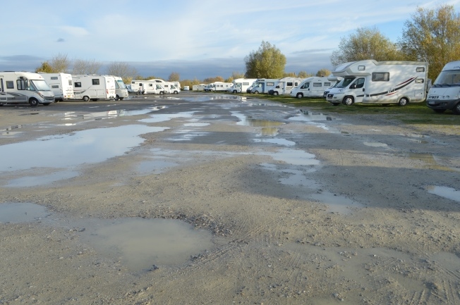 Too many potholes at Le Crotoy motorhome aire
