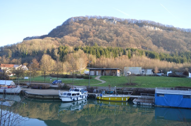 Motorhome aire and Marina from far side of canal