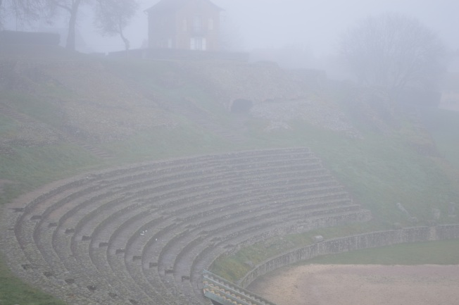 A very atmospheric Roman Theatre in the fog, Autun